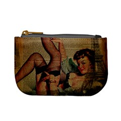 Vintage Newspaper Print Sexy Hot Pin Up Girl Paris Eiffel Tower Coin Change Purse