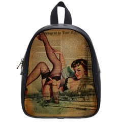 Vintage Newspaper Print Sexy Hot Pin Up Girl Paris Eiffel Tower School Bag (small)