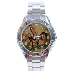 Vintage Newspaper Print Sexy Hot Pin Up Girl Paris Eiffel Tower Stainless Steel Watch (Men s)