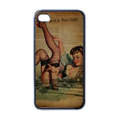 Vintage Newspaper Print Sexy Hot Pin Up Girl Paris Eiffel Tower Apple Iphone 4 Case (black)