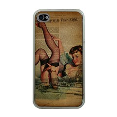 Vintage Newspaper Print Sexy Hot Pin Up Girl Paris Eiffel Tower Apple Iphone 4 Case (clear)