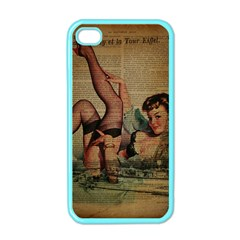 Vintage Newspaper Print Sexy Hot Pin Up Girl Paris Eiffel Tower Apple Iphone 4 Case (color)