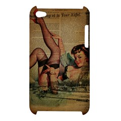 Vintage Newspaper Print Sexy Hot Pin Up Girl Paris Eiffel Tower Apple iPod Touch 4G Hardshell Case