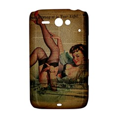 Vintage Newspaper Print Sexy Hot Pin Up Girl Paris Eiffel Tower HTC ChaCha / HTC Status Hardshell Case