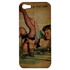 Vintage Newspaper Print Sexy Hot Pin Up Girl Paris Eiffel Tower Apple iPhone 5 Hardshell Case