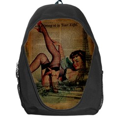Vintage Newspaper Print Sexy Hot Pin Up Girl Paris Eiffel Tower Backpack Bag