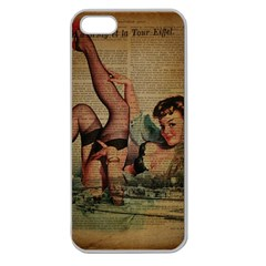 Vintage Newspaper Print Sexy Hot Pin Up Girl Paris Eiffel Tower Apple Seamless iPhone 5 Case (Clear)