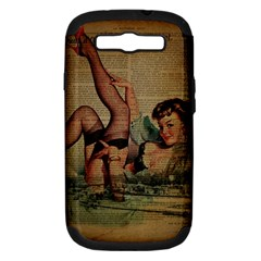 Vintage Newspaper Print Sexy Hot Pin Up Girl Paris Eiffel Tower Samsung Galaxy S Iii Hardshell Case (pc+silicone)