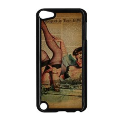 Vintage Newspaper Print Sexy Hot Pin Up Girl Paris Eiffel Tower Apple iPod Touch 5 Case (Black)