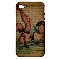 Vintage Newspaper Print Sexy Hot Pin Up Girl Paris Eiffel Tower Apple Iphone 4/4s Hardshell Case (pc+silicone)