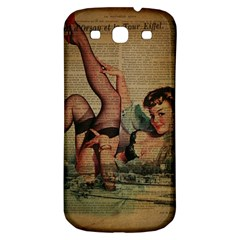 Vintage Newspaper Print Sexy Hot Pin Up Girl Paris Eiffel Tower Samsung Galaxy S3 S III Classic Hardshell Back Case