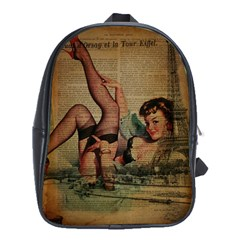 Vintage Newspaper Print Sexy Hot Pin Up Girl Paris Eiffel Tower School Bag (XL)