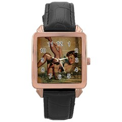 Vintage Newspaper Print Sexy Hot Pin Up Girl Paris Eiffel Tower Rose Gold Leather Watch