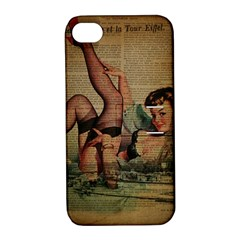 Vintage Newspaper Print Sexy Hot Pin Up Girl Paris Eiffel Tower Apple iPhone 4/4S Hardshell Case with Stand