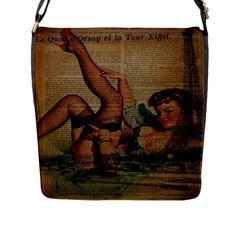 Vintage Newspaper Print Sexy Hot Pin Up Girl Paris Eiffel Tower Flap Closure Messenger Bag (large)