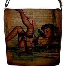 Vintage Newspaper Print Sexy Hot Pin Up Girl Paris Eiffel Tower Flap closure messenger bag (Small)