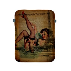 Vintage Newspaper Print Sexy Hot Pin Up Girl Paris Eiffel Tower Apple Ipad 2/3/4 Protective Soft Case