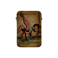 Vintage Newspaper Print Sexy Hot Pin Up Girl Paris Eiffel Tower Apple iPad Mini Protective Soft Case