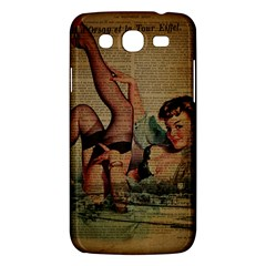 Vintage Newspaper Print Sexy Hot Pin Up Girl Paris Eiffel Tower Samsung Galaxy Mega 5.8 I9152 Hardshell Case