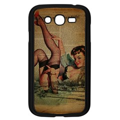 Vintage Newspaper Print Sexy Hot Pin Up Girl Paris Eiffel Tower Samsung I9082(Galaxy Grand DUOS)(Black)