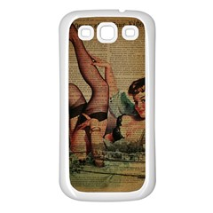 Vintage Newspaper Print Sexy Hot Pin Up Girl Paris Eiffel Tower Samsung Galaxy S3 Back Case (White)