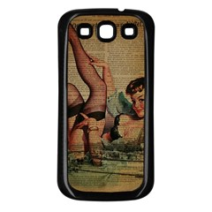Vintage Newspaper Print Sexy Hot Pin Up Girl Paris Eiffel Tower Samsung Galaxy S3 Back Case (black)
