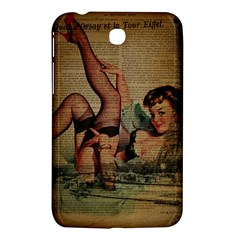 Vintage Newspaper Print Sexy Hot Pin Up Girl Paris Eiffel Tower Samsung Galaxy Tab 3 (7 ) P3200 Hardshell Case