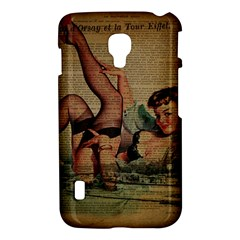 Vintage Newspaper Print Sexy Hot Pin Up Girl Paris Eiffel Tower LG P715 (Optimus L7 II) Hardshell Case
