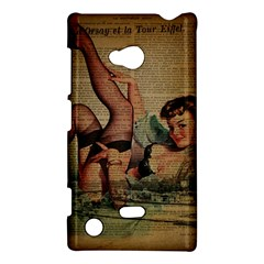 Vintage Newspaper Print Sexy Hot Pin Up Girl Paris Eiffel Tower Nokia Lumia 720 Hardshell Case