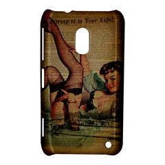 Vintage Newspaper Print Sexy Hot Pin Up Girl Paris Eiffel Tower Nokia Lumia 620 Hardshell Case