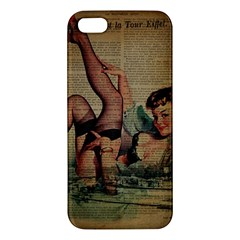 Vintage Newspaper Print Sexy Hot Pin Up Girl Paris Eiffel Tower iPhone 5S Premium Hardshell Case
