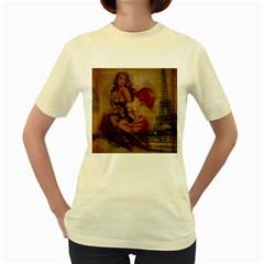 Vintage Newspaper Print Sexy Hot Gil Elvgren Pin Up Girl Paris Eiffel Tower  Womens  T-shirt (Yellow)