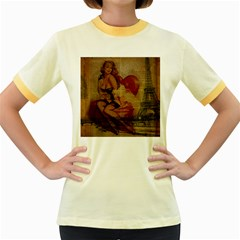 Vintage Newspaper Print Sexy Hot Gil Elvgren Pin Up Girl Paris Eiffel Tower Womens  Ringer T Shirt (colored)