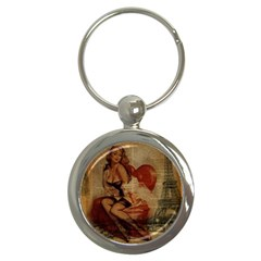 Vintage Newspaper Print Sexy Hot Gil Elvgren Pin Up Girl Paris Eiffel Tower Key Chain (round)
