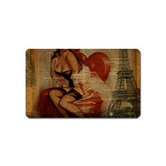 Vintage Newspaper Print Sexy Hot Gil Elvgren Pin Up Girl Paris Eiffel Tower Magnet (Name Card)
