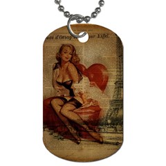 Vintage Newspaper Print Sexy Hot Gil Elvgren Pin Up Girl Paris Eiffel Tower Dog Tag (Two-sided)