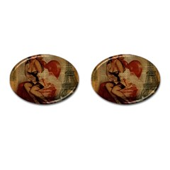 Vintage Newspaper Print Sexy Hot Gil Elvgren Pin Up Girl Paris Eiffel Tower Cufflinks (oval)