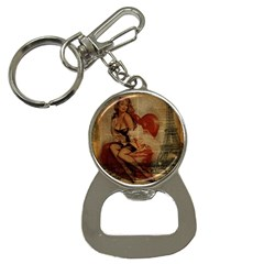 Vintage Newspaper Print Sexy Hot Gil Elvgren Pin Up Girl Paris Eiffel Tower Bottle Opener Key Chain
