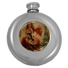 Vintage Newspaper Print Sexy Hot Gil Elvgren Pin Up Girl Paris Eiffel Tower Hip Flask (round)