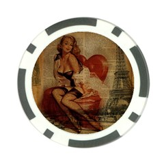 Vintage Newspaper Print Sexy Hot Gil Elvgren Pin Up Girl Paris Eiffel Tower Poker Chip