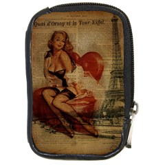 Vintage Newspaper Print Sexy Hot Gil Elvgren Pin Up Girl Paris Eiffel Tower Compact Camera Leather Case
