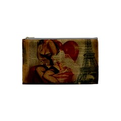 Vintage Newspaper Print Sexy Hot Gil Elvgren Pin Up Girl Paris Eiffel Tower Cosmetic Bag (Small)