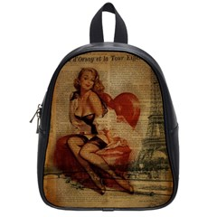 Vintage Newspaper Print Sexy Hot Gil Elvgren Pin Up Girl Paris Eiffel Tower School Bag (Small)