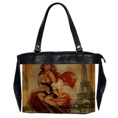 Vintage Newspaper Print Sexy Hot Gil Elvgren Pin Up Girl Paris Eiffel Tower Oversize Office Handbag (Two Sides)