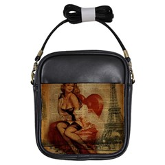 Vintage Newspaper Print Sexy Hot Gil Elvgren Pin Up Girl Paris Eiffel Tower Girl s Sling Bag