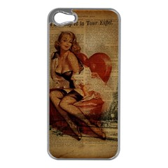 Vintage Newspaper Print Sexy Hot Gil Elvgren Pin Up Girl Paris Eiffel Tower Apple Iphone 5 Case (silver)