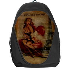 Vintage Newspaper Print Sexy Hot Gil Elvgren Pin Up Girl Paris Eiffel Tower Backpack Bag