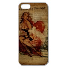 Vintage Newspaper Print Sexy Hot Gil Elvgren Pin Up Girl Paris Eiffel Tower Apple Seamless iPhone 5 Case (Clear)