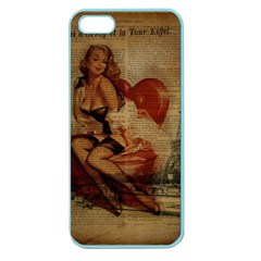 Vintage Newspaper Print Sexy Hot Gil Elvgren Pin Up Girl Paris Eiffel Tower Apple Seamless iPhone 5 Case (Color)