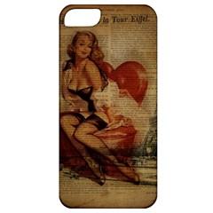 Vintage Newspaper Print Sexy Hot Gil Elvgren Pin Up Girl Paris Eiffel Tower Apple iPhone 5 Classic Hardshell Case